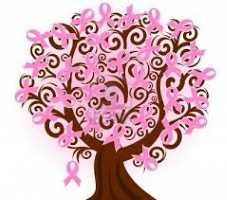 Árvore de laços rosas